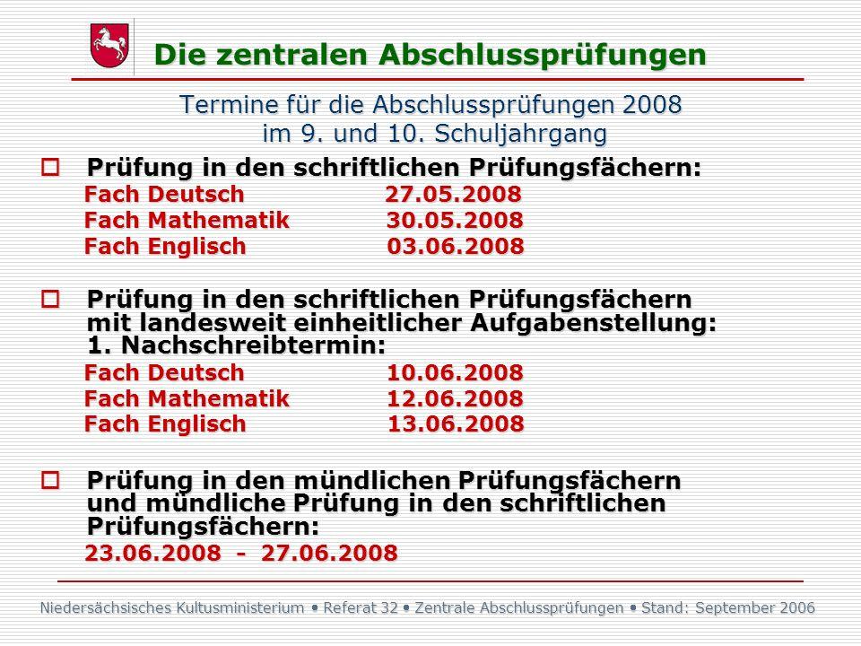 Niedersächsisches Kultusministerium Referat 32 Zentrale Abschlussprüfungen Stand: September 2006 Die zentralen Abschlussprüfungen Termine für die Absc