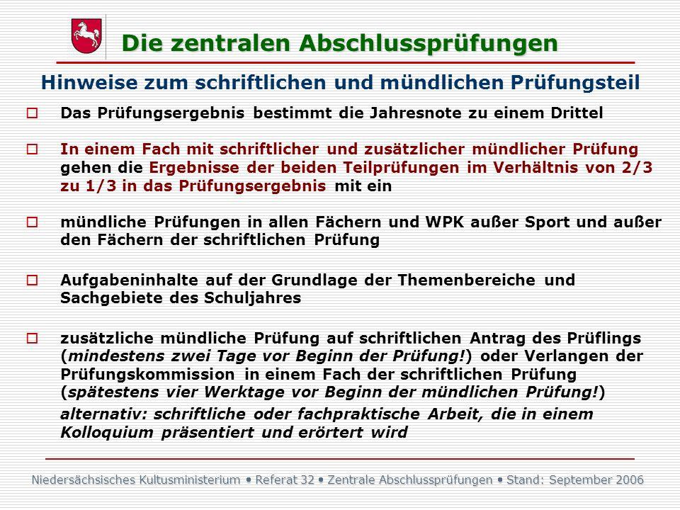 Niedersächsisches Kultusministerium Referat 32 Zentrale Abschlussprüfungen Stand: September 2006 Die zentralen Abschlussprüfungen Das Prüfungsergebnis