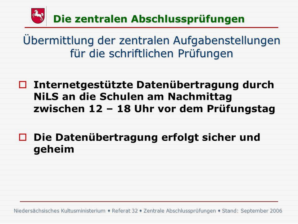 Niedersächsisches Kultusministerium Referat 32 Zentrale Abschlussprüfungen Stand: September 2006 Die zentralen Abschlussprüfungen Übermittlung der zen