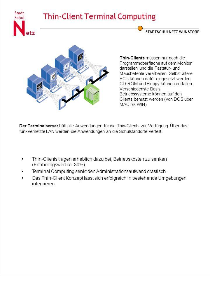 STADTSCHULNETZ WUNSTORF Schul Stadt etz N Thin-Client Terminal Computing Thin-Clients müssen nur noch die Programmoberfläche auf dem Monitor darstelle