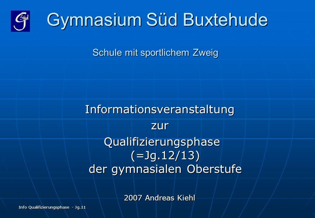 Info Qualifizierungsphase - Jg.11 Gymnasium Süd Buxtehude Informationsveranstaltungzur Qualifizierungsphase (=Jg.12/13) der gymnasialen Oberstufe Qual