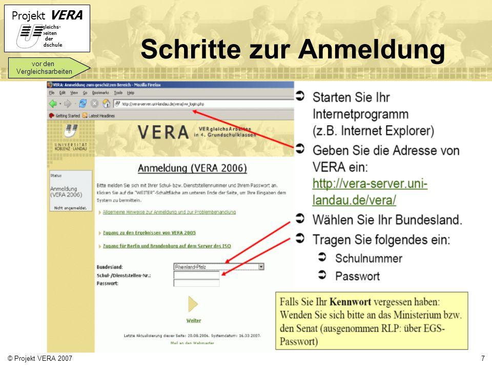Projekt VERA VERgleichs- Arbeiten in der Grundschule 7© Projekt VERA 2007 Schritte zur Anmeldung vor den Vergleichsarbeiten