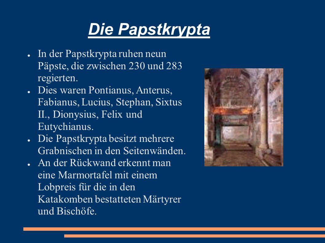 Die Papstkrypta In der Papstkrypta ruhen neun Päpste, die zwischen 230 und 283 regierten. Dies waren Pontianus, Anterus, Fabianus, Lucius, Stephan, Si