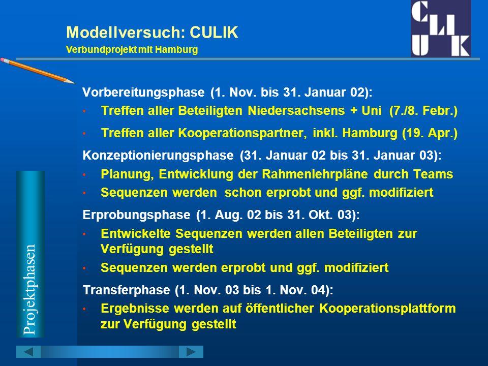 Modellversuch: CULIK Verbundprojekt mit Hamburg Vorbereitungsphase (1. Nov. bis 31. Januar 02): Treffen aller Beteiligten Niedersachsens + Uni (7./8.