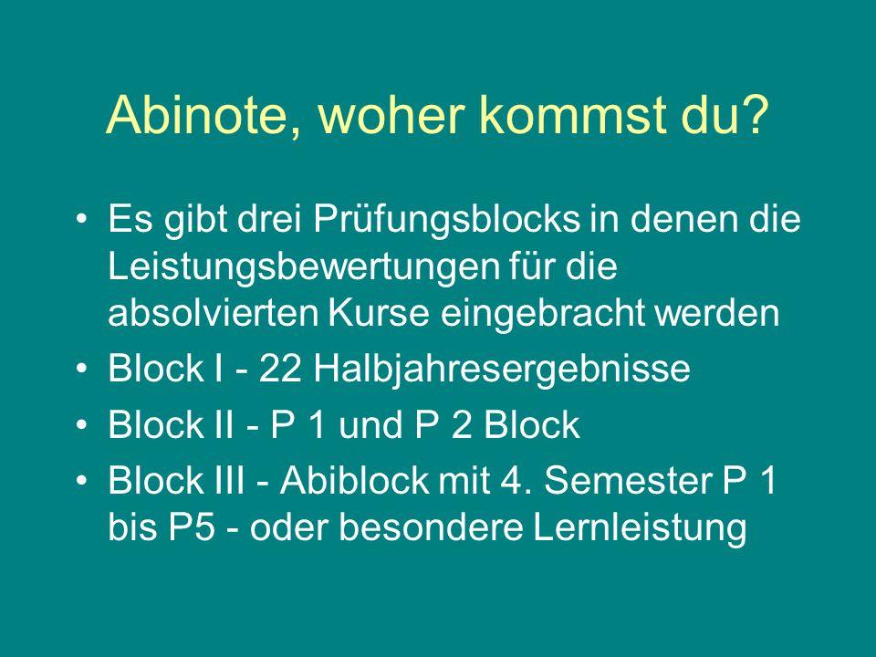 Block I 22 Halbjahresergebnisse davon 18 mit mindestens 05 Punkten P 3 Semester 1 bis 4 X 1 P 4 und P 5 Semester 1 bis 3 X 1 min 110 Punkte - max 330 Punkte