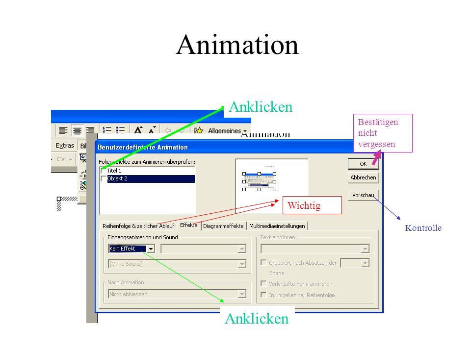 Anklicken Wichtig Kontrolle Bestätigen nicht vergessen Animation