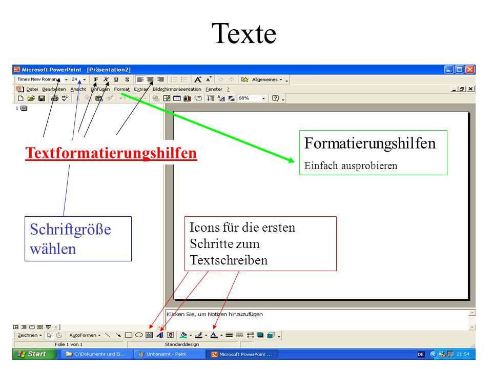 Icons für die ersten Schritte zum Textschreiben Formatierungshilfen Einfach ausprobieren Schriftgröße wählen Texte Textformatierungshilfen