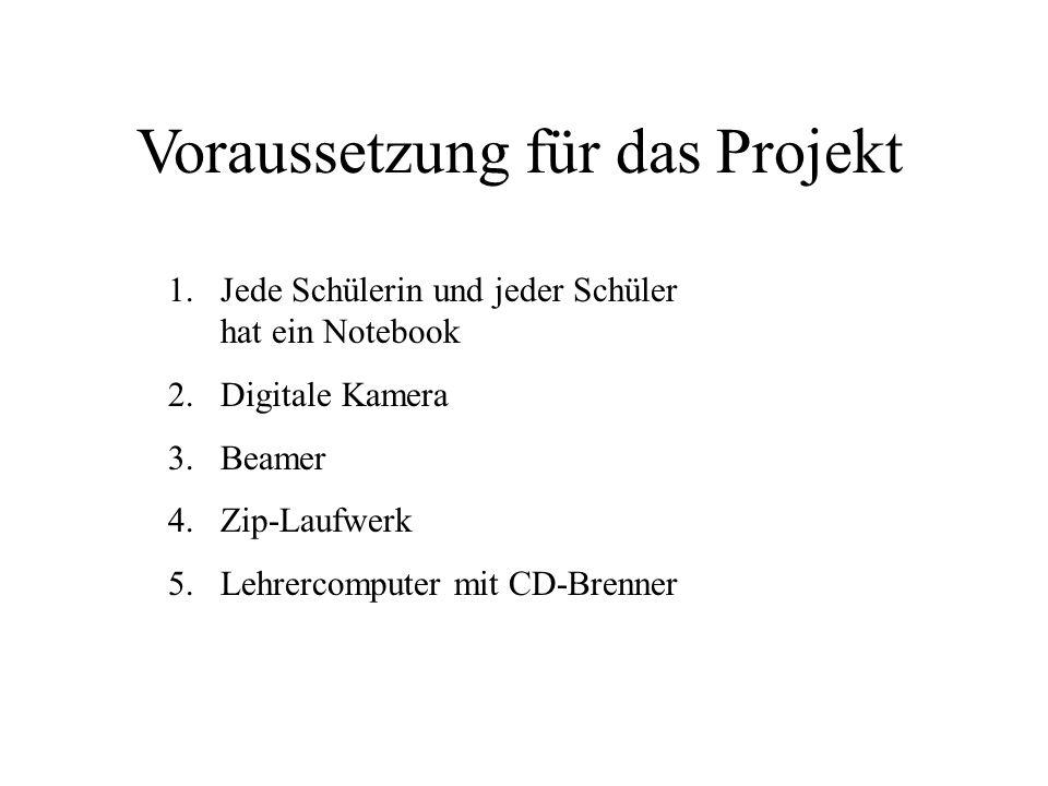 1.Jede Schülerin und jeder Schüler hat ein Notebook 2.Digitale Kamera 3.Beamer 4.Zip-Laufwerk 5.Lehrercomputer mit CD-Brenner Voraussetzung für das Pr