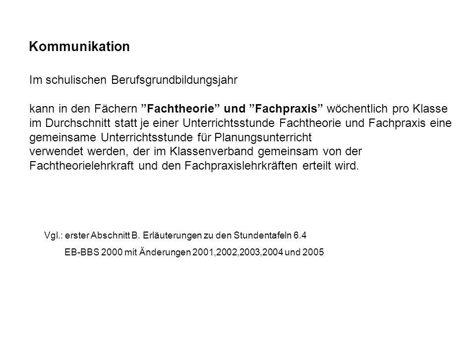 Vgl.: erster Abschnitt B. Erläuterungen zu den Stundentafeln 6.4 EB-BBS 2000 mit Änderungen 2001,2002,2003,2004 und 2005 Kommunikation Im schulischen