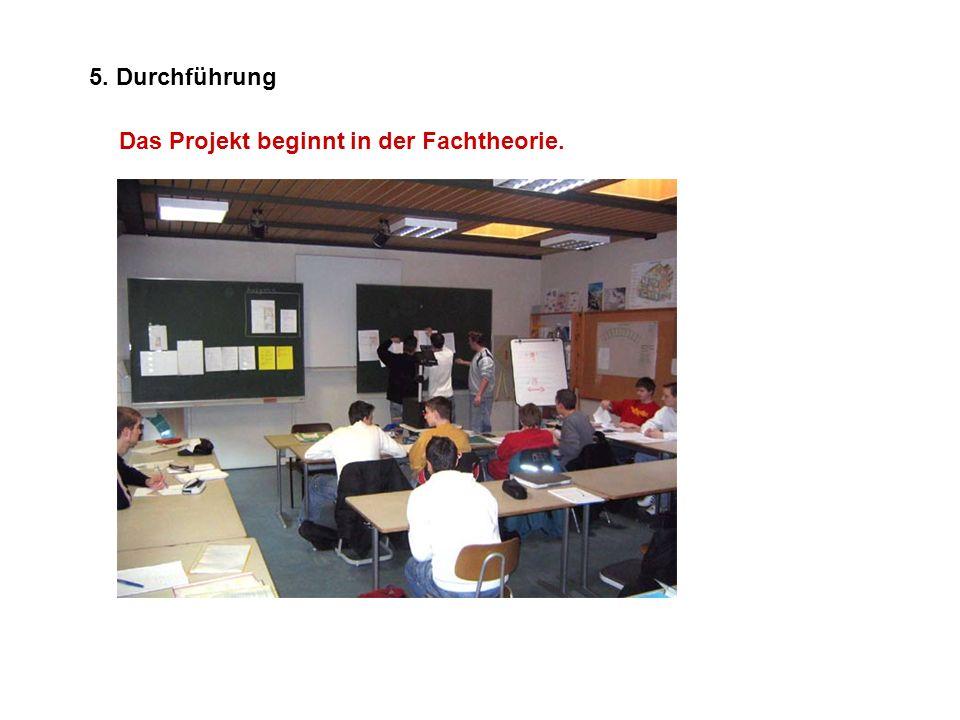 5. Durchführung Das Projekt beginnt in der Fachtheorie.