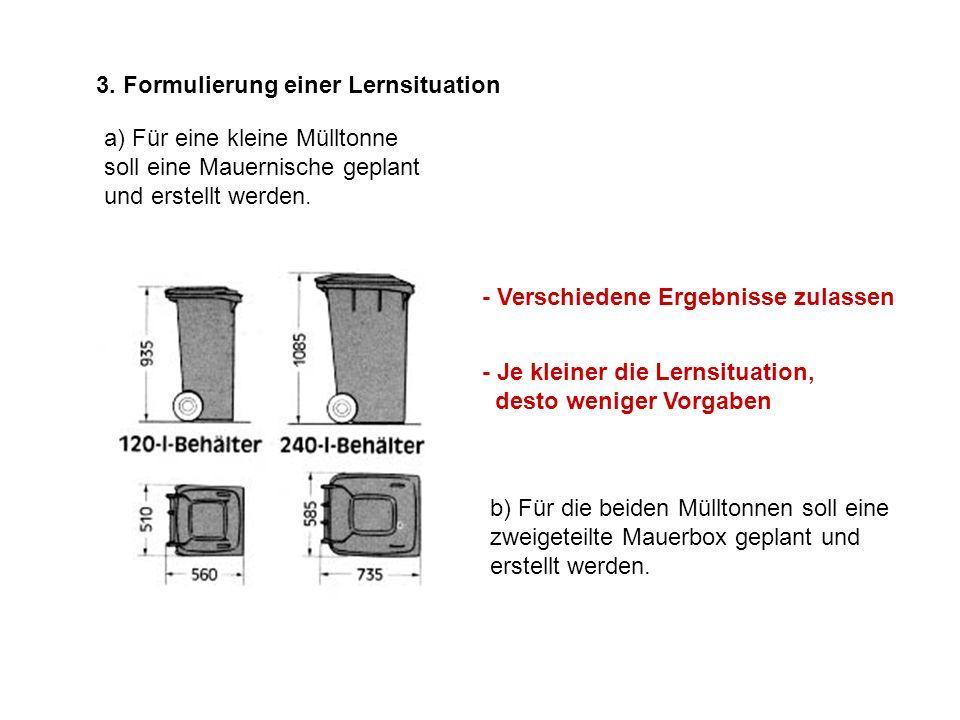 3. Formulierung einer Lernsituation a) Für eine kleine Mülltonne soll eine Mauernische geplant und erstellt werden. - Verschiedene Ergebnisse zulassen