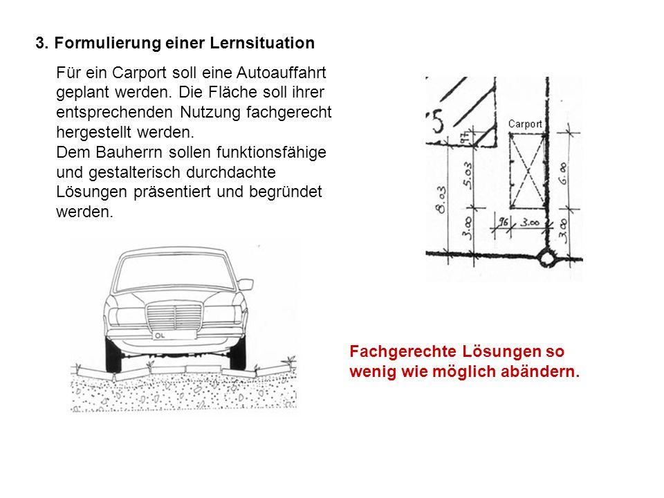 3. Formulierung einer Lernsituation Fachgerechte Lösungen so wenig wie möglich abändern. Für ein Carport soll eine Autoauffahrt geplant werden. Die Fl