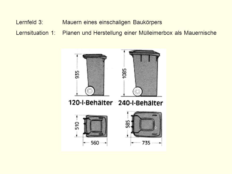 Lernfeld 3:Mauern eines einschaligen Baukörpers Lernsituation 1: Planen und Herstellung einer Mülleimerbox als Mauernische