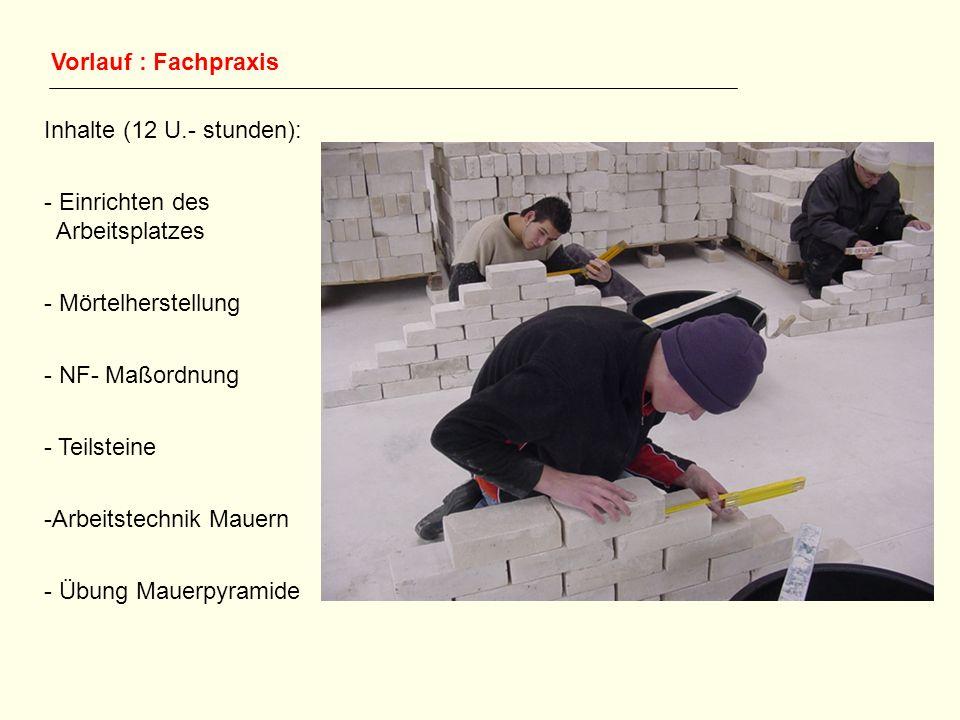 Vorlauf : Fachpraxis Inhalte (12 U.- stunden): - Einrichten des Arbeitsplatzes - Mörtelherstellung - NF- Maßordnung - Teilsteine -Arbeitstechnik Mauer