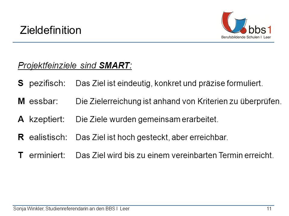 Sonja Winkler, Studienreferendarin an den BBS I Leer11 Zieldefinition Projektfeinziele sind SMART: Spezifisch: Das Ziel ist eindeutig, konkret und prä