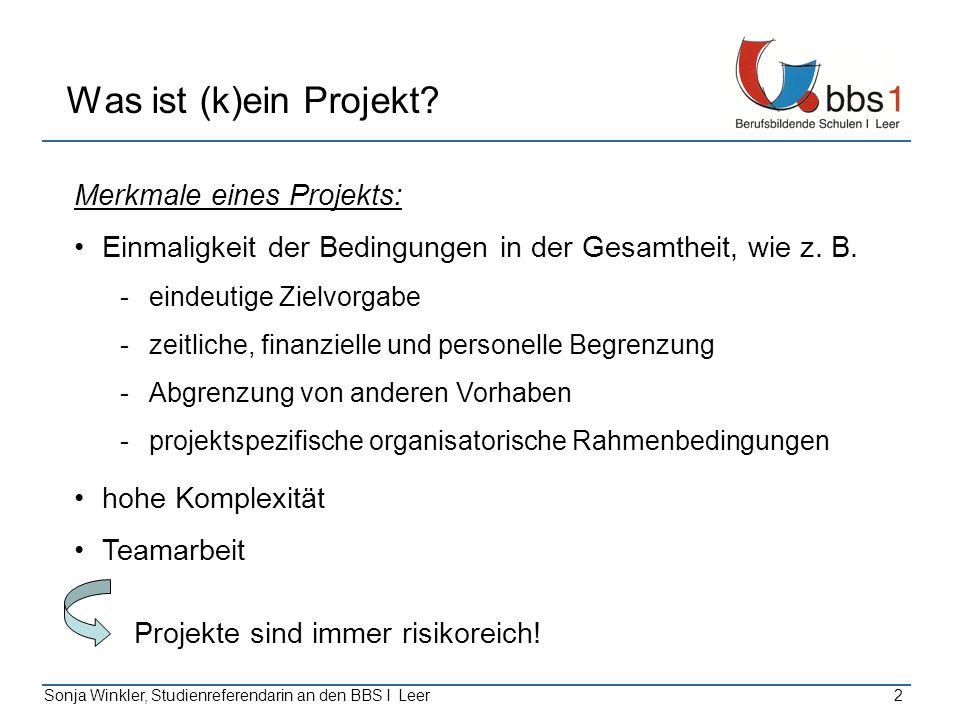 2 Was ist (k)ein Projekt? Merkmale eines Projekts: Einmaligkeit der Bedingungen in der Gesamtheit, wie z. B. -eindeutige Zielvorgabe -zeitliche, finan