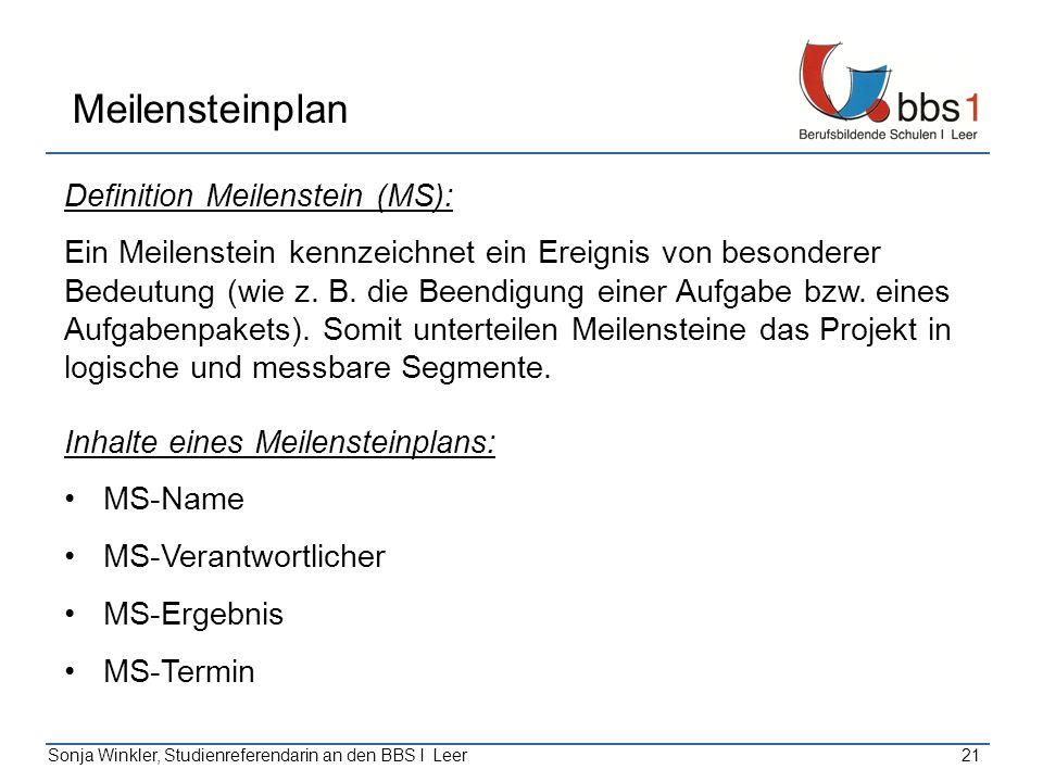 Sonja Winkler, Studienreferendarin an den BBS I Leer21 Meilensteinplan Definition Meilenstein (MS): Ein Meilenstein kennzeichnet ein Ereignis von beso