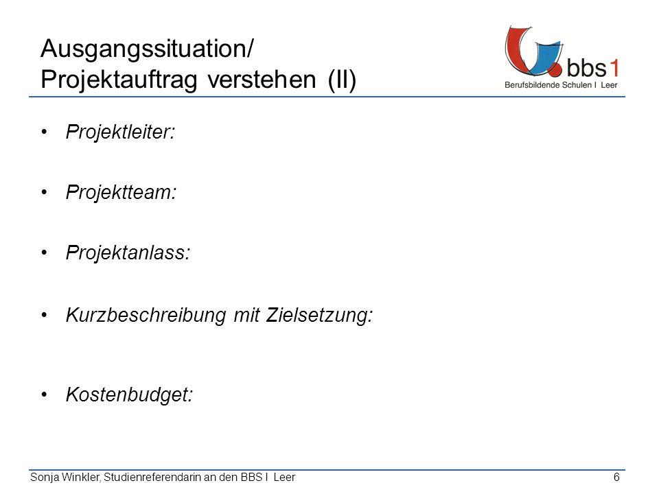 Sonja Winkler, Studienreferendarin an den BBS I Leer6 Ausgangssituation/ Projektauftrag verstehen (II) Projektleiter: Projektteam: Projektanlass: Kurz