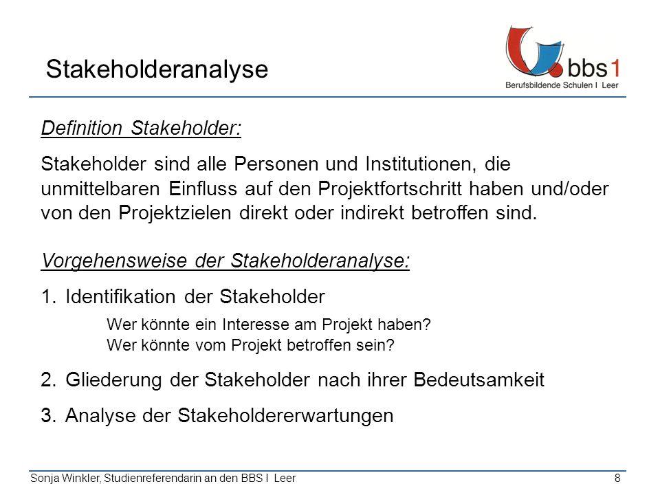 Sonja Winkler, Studienreferendarin an den BBS I Leer8 Stakeholderanalyse Definition Stakeholder: Stakeholder sind alle Personen und Institutionen, die