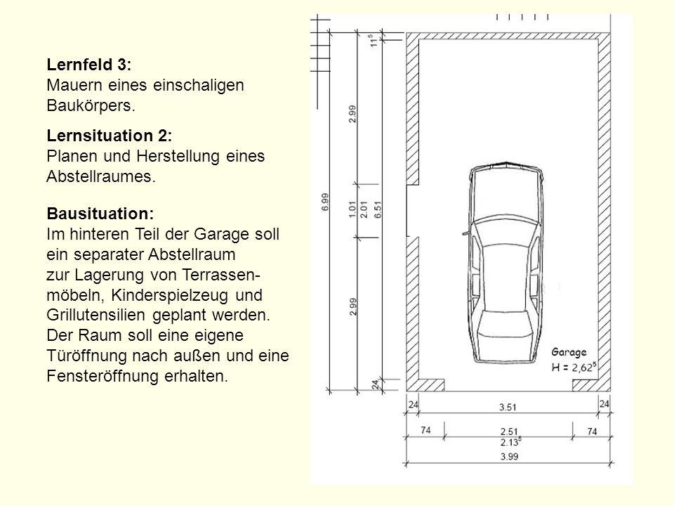 Lernfeld 3: Mauern eines einschaligen Baukörpers. Lernsituation 2: Planen und Herstellung eines Abstellraumes. Bausituation: Im hinteren Teil der Gara