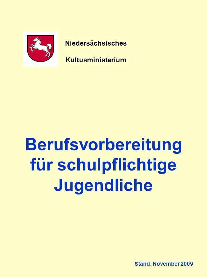 Berufsvorbereitung für schulpflichtige Jugendliche Stand: November 2009 Niedersächsisches Kultusministerium