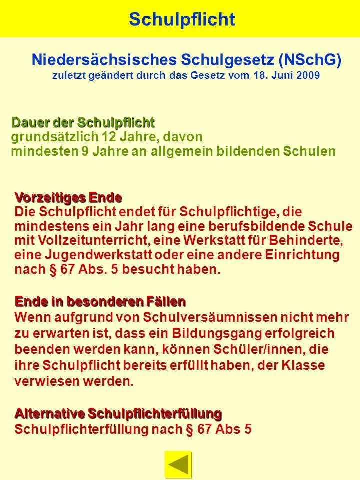 Niedersächsisches Schulgesetz (NSchG) zuletzt geändert durch das Gesetz vom 18.