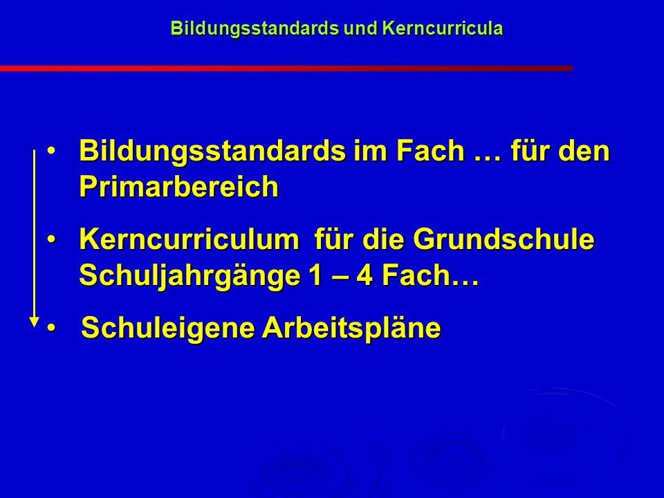 Bildungsstandards im Fach … für den Primarbereich Kerncurriculum für die Grundschule Schuljahrgänge 1 – 4 Fach… Kerncurriculum für die Grundschule Sch