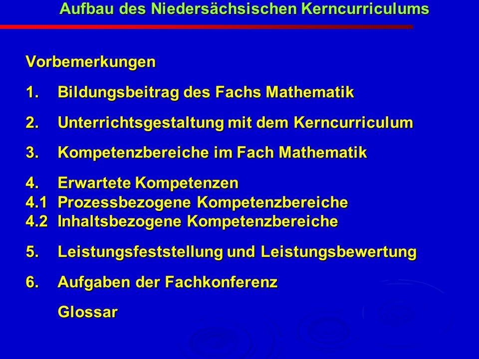 Vorbemerkungen 1.Bildungsbeitrag des Fachs Mathematik 2.Unterrichtsgestaltung mit dem Kerncurriculum 3. Kompetenzbereiche im Fach Mathematik 4.Erwarte