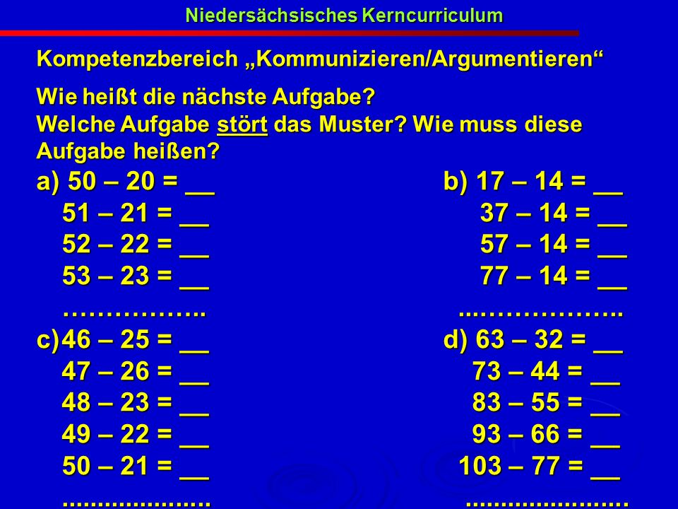 Niedersächsisches Kerncurriculum Kompetenzbereich Kommunizieren/Argumentieren Wie heißt die nächste Aufgabe? Welche Aufgabe stört das Muster? Wie muss