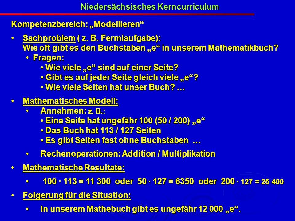 Niedersächsisches Kerncurriculum Kompetenzbereich: Modellieren Sachproblem ( z. B. Fermiaufgabe): Sachproblem ( z. B. Fermiaufgabe): Wie oft gibt es d