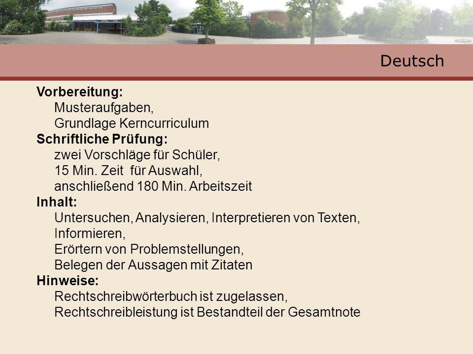 Deutsch Vorbereitung: Musteraufgaben, Grundlage Kerncurriculum Schriftliche Prüfung: zwei Vorschläge für Schüler, 15 Min.