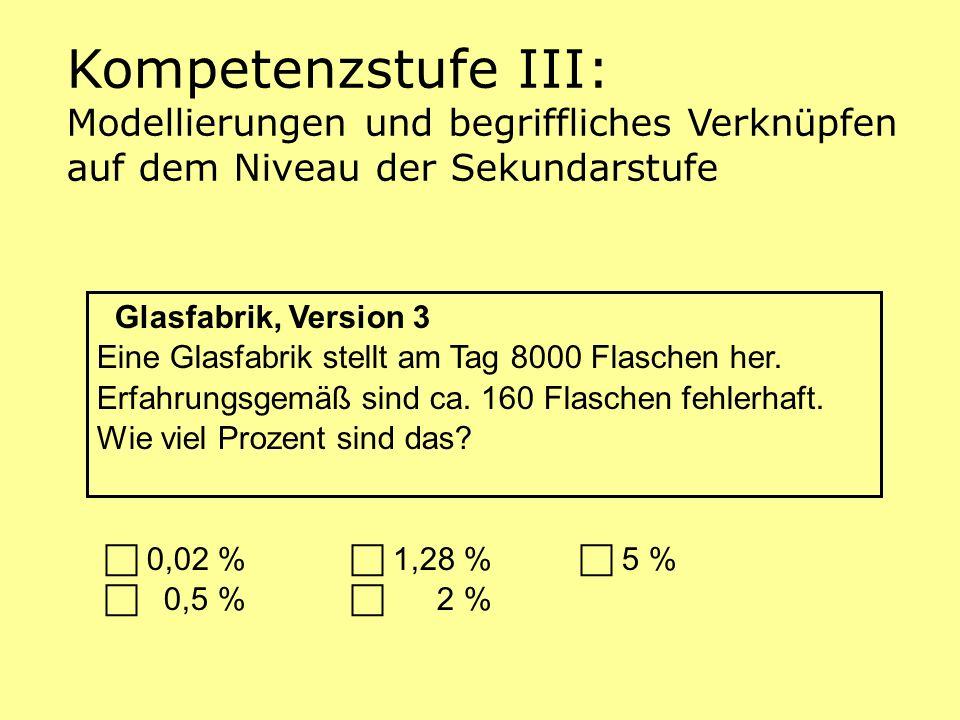 Glasfabrik, Version 3 Eine Glasfabrik stellt am Tag 8000 Flaschen her. Erfahrungsgemäß sind ca. 160 Flaschen fehlerhaft. Wie viel Prozent sind das? 0,