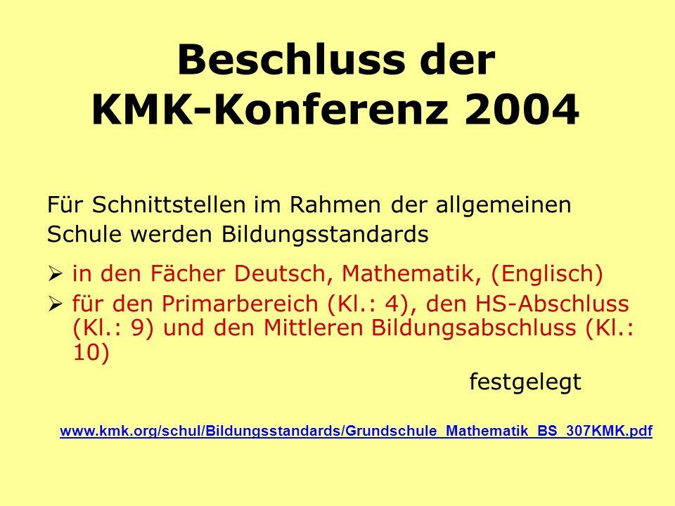 Beschluss der KMK-Konferenz 2004 Für Schnittstellen im Rahmen der allgemeinen Schule werden Bildungsstandards in den Fächer Deutsch, Mathematik, (Engl
