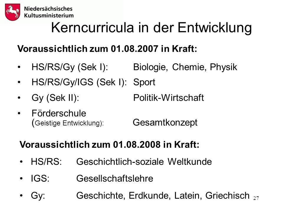 27 Kerncurricula in der Entwicklung Voraussichtlich zum 01.08.2007 in Kraft: HS/RS/Gy (Sek I): Biologie, Chemie, Physik HS/RS/Gy/IGS (Sek I): Sport Gy