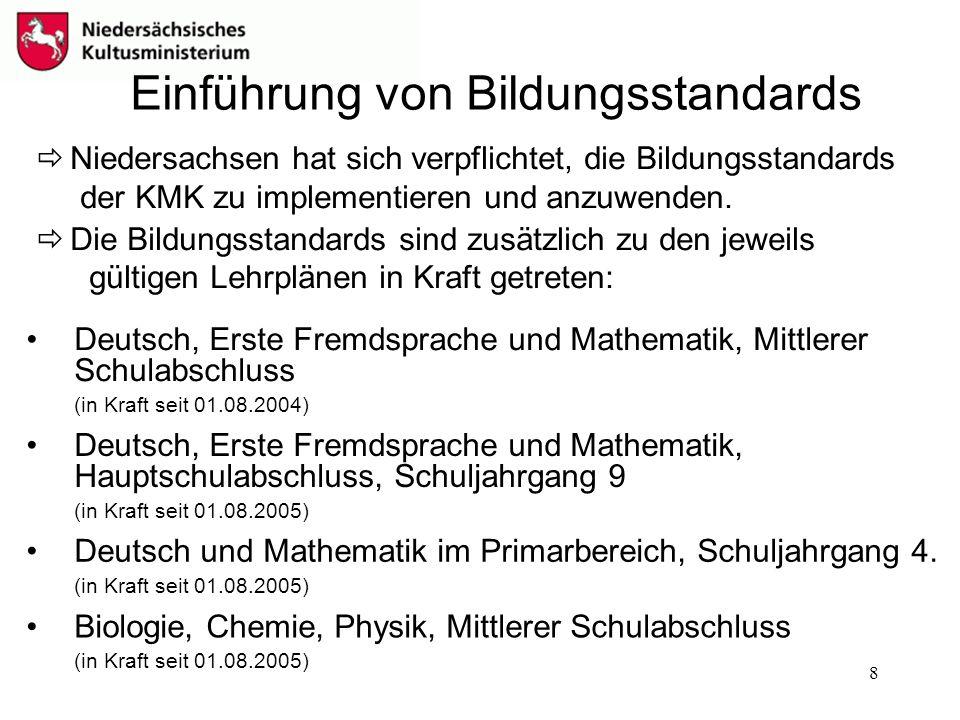 8 Einführung von Bildungsstandards Deutsch und Mathematik im Primarbereich, Schuljahrgang 4. (in Kraft seit 01.08.2005) Deutsch, Erste Fremdsprache un