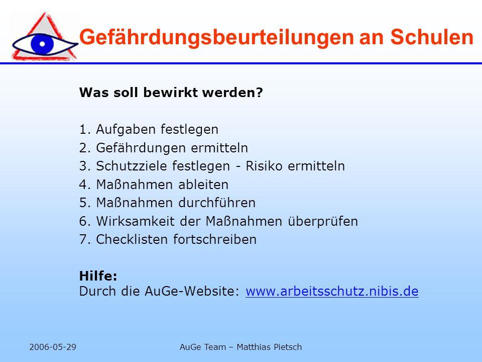 2006-05-29AuGe Team – Matthias Pietsch Gefährdungsbeurteilungen an Schulen Was soll bewirkt werden? 1. Aufgaben festlegen 2. Gefährdungen ermitteln 3.