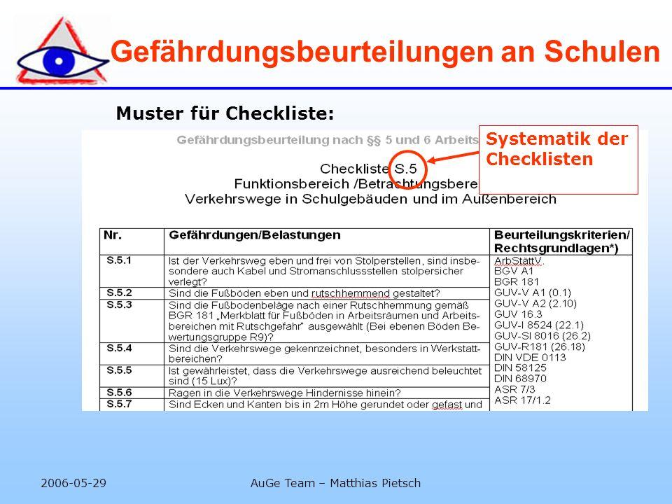 2006-05-29AuGe Team – Matthias Pietsch Gefährdungsbeurteilungen an Schulen Muster für Checkliste: Hinweis: Checklisten können anders gestaltet sein Sy