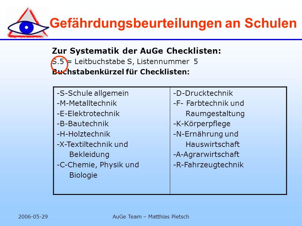 2006-05-29AuGe Team – Matthias Pietsch Gefährdungsbeurteilungen an Schulen Zur Systematik der AuGe Checklisten: S.5 = Leitbuchstabe S, Listennummer 5
