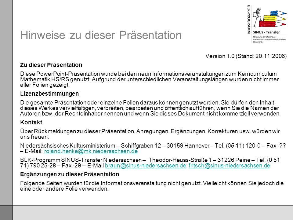 Hinweise zu dieser Präsentation Version 1.0 (Stand: 20.11.2006) Zu dieser Präsentation Diese PowerPoint-Präsentation wurde bei den neun Informationsve
