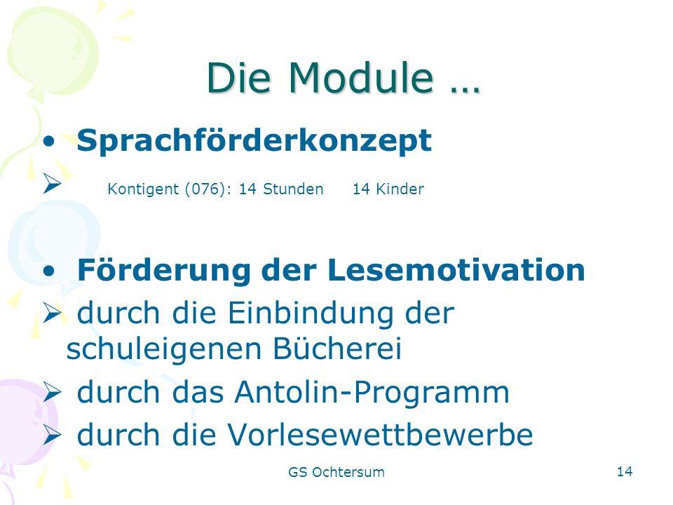 GS Ochtersum 14 Die Module … Die Module … Sprachförderkonzept Kontigent (076): 14 Stunden 14 Kinder Förderung der Lesemotivation durch die Einbindung