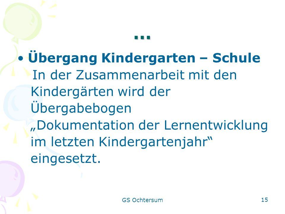 GS Ochtersum 15 … Übergang Kindergarten – Schule In der Zusammenarbeit mit den Kindergärten wird der Übergabebogen Dokumentation der Lernentwicklung i