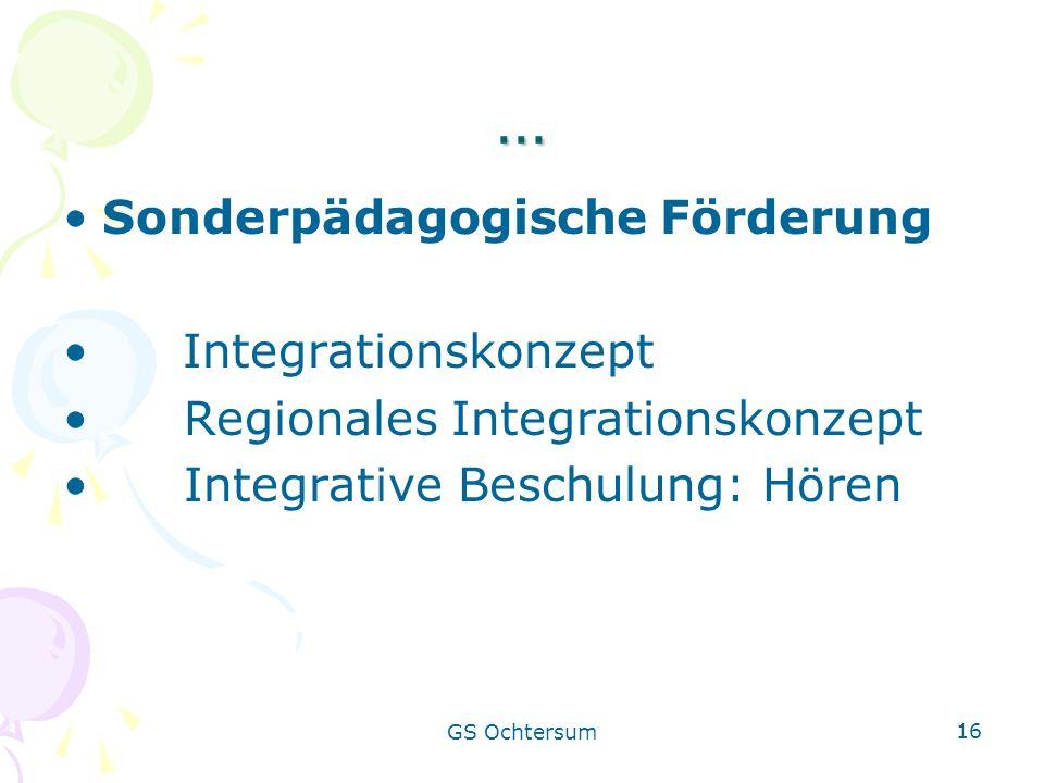 GS Ochtersum 16 … Sonderpädagogische Förderung Integrationskonzept Regionales Integrationskonzept Integrative Beschulung: Hören