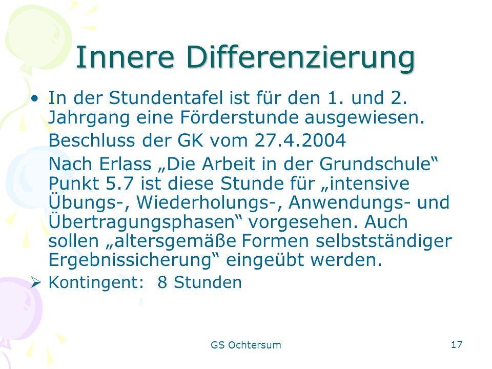 GS Ochtersum 17 Innere Differenzierung In der Stundentafel ist für den 1. und 2. Jahrgang eine Förderstunde ausgewiesen. Beschluss der GK vom 27.4.200