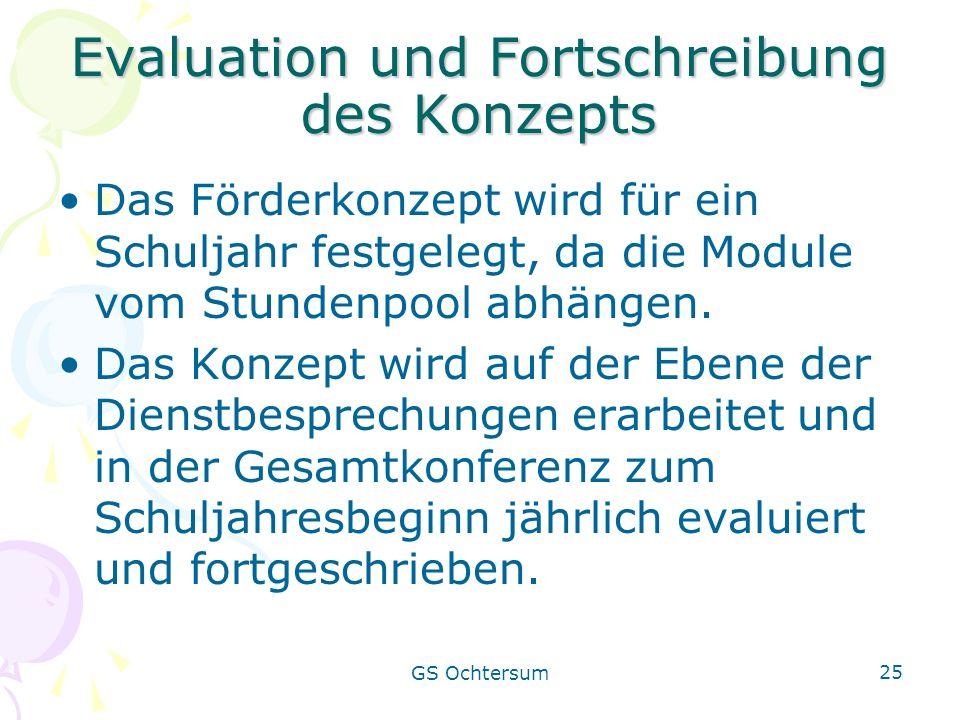 GS Ochtersum 25 Evaluation und Fortschreibung des Konzepts Das Förderkonzept wird für ein Schuljahr festgelegt, da die Module vom Stundenpool abhängen