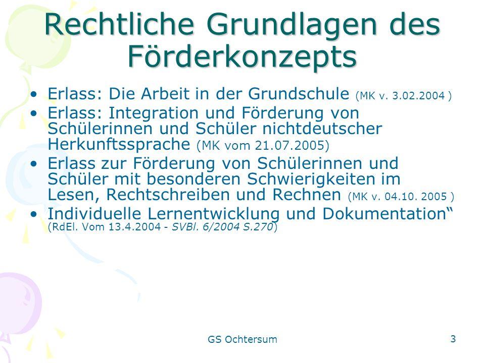 GS Ochtersum 3 Rechtliche Grundlagen des Förderkonzepts Erlass: Die Arbeit in der Grundschule (MK v. 3.02.2004 ) Erlass: Integration und Förderung von