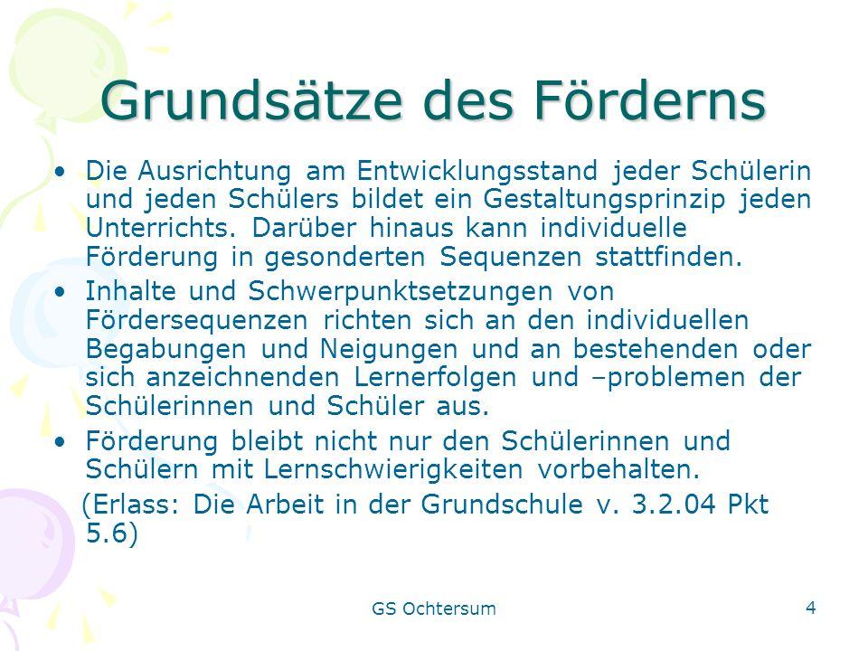 GS Ochtersum 4 Grundsätze des Förderns Die Ausrichtung am Entwicklungsstand jeder Schülerin und jeden Schülers bildet ein Gestaltungsprinzip jeden Unt