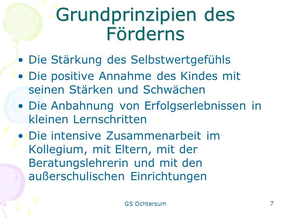 GS Ochtersum 7 Grundprinzipien des Förderns Die Stärkung des Selbstwertgefühls Die positive Annahme des Kindes mit seinen Stärken und Schwächen Die An