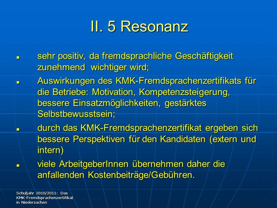 II. 5 Resonanz sehr positiv, da fremdsprachliche Geschäftigkeit zunehmend wichtiger wird; sehr positiv, da fremdsprachliche Geschäftigkeit zunehmend w