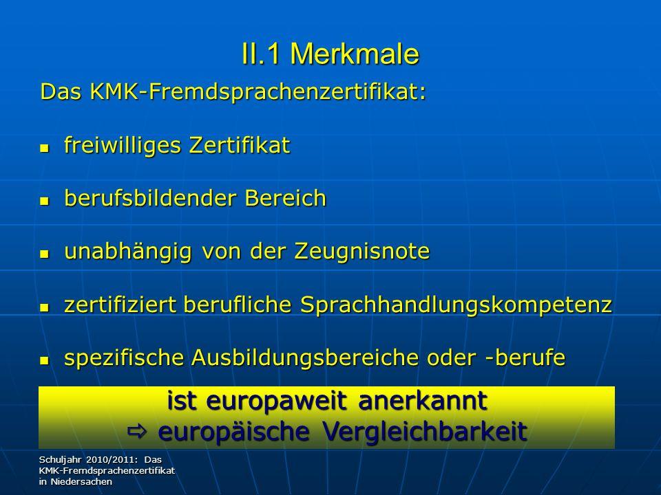 II.1 Merkmale Das KMK-Fremdsprachenzertifikat: freiwilliges Zertifikat freiwilliges Zertifikat berufsbildender Bereich berufsbildender Bereich unabhän