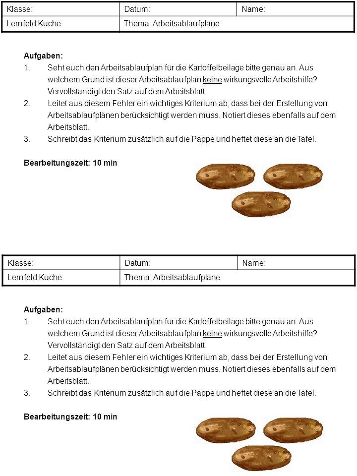 Klasse:Datum:Name: Lernfeld KücheThema: Arbeitsablaufpläne Aufgaben: 1.Seht euch den Arbeitsablaufplan für die Kartoffelbeilage bitte genau an. Aus we